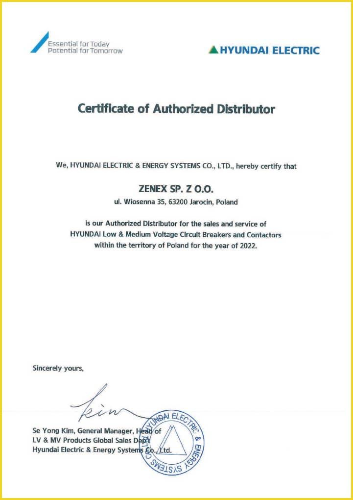 Certyfikat Dystrybutora marki Hyundai