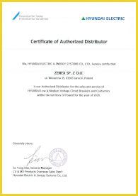 Certyfikat Dystrybutora Hyundai - Niskiego i Średniego Napięcia Wyłączników i Styczników