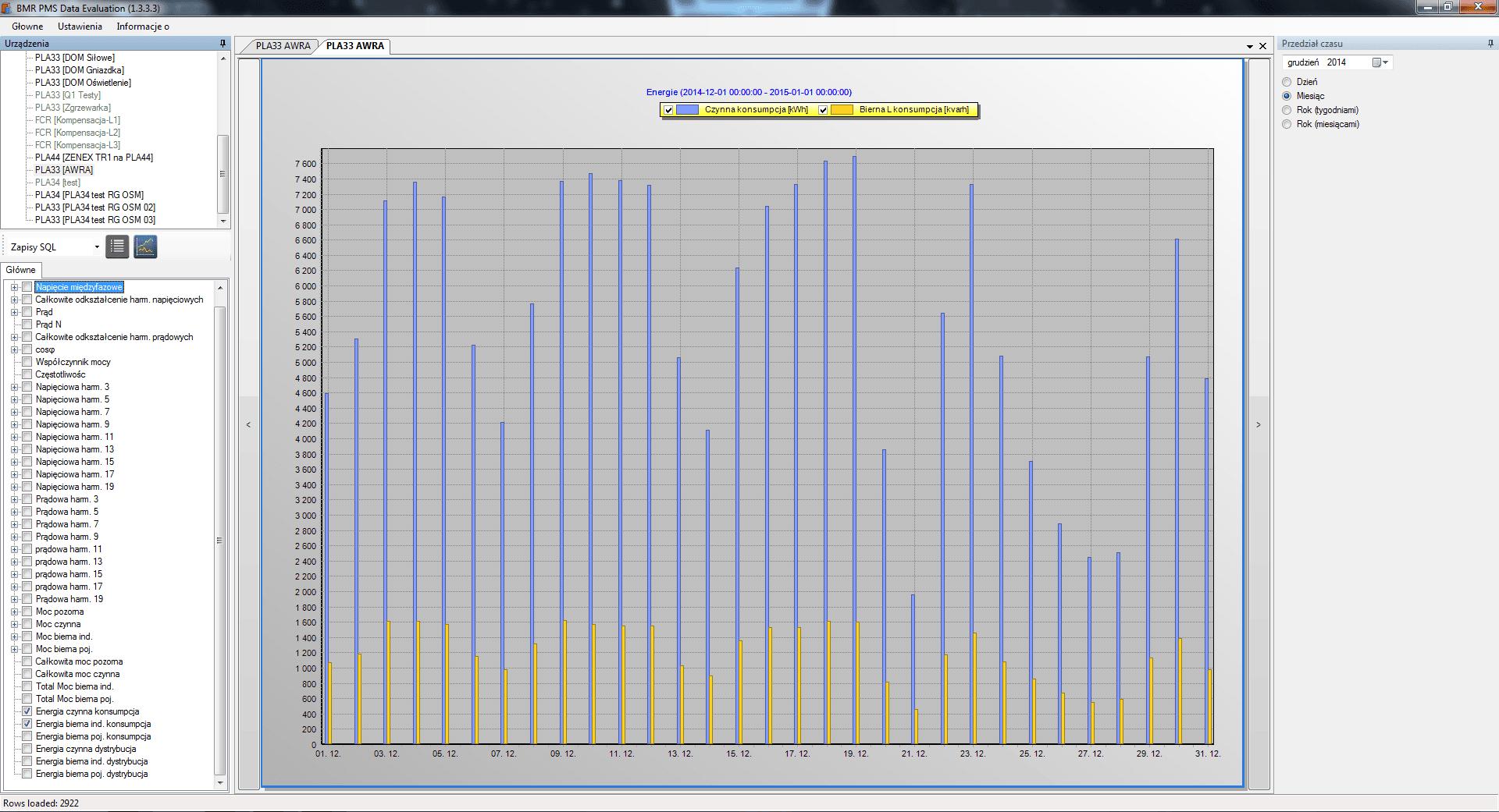 Widok z programu PMS Energie 1 dniowe.