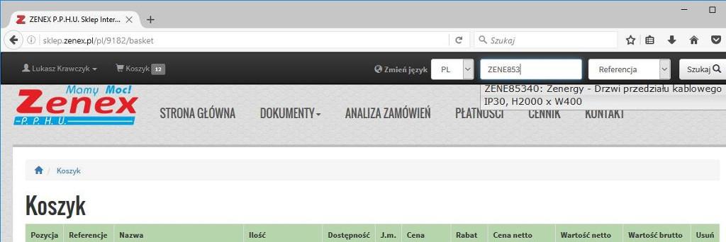 Mini wyszukiwarka - przykład z Zenergy 85340