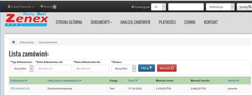 Lista zamówień i dostępne filtry listy