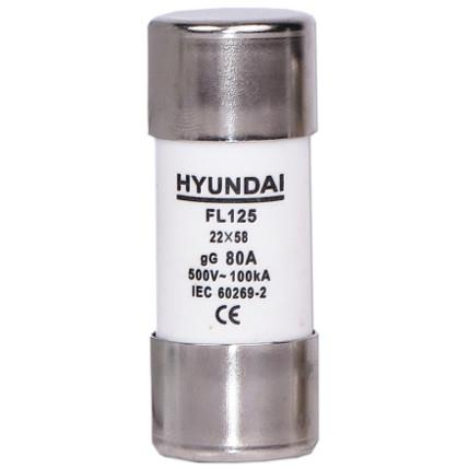 Cylindrical fuse, size 22X58, gG, max 125A: HYUNFL22X580125