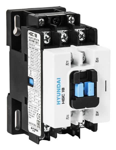 Contactor HGC 18A  AC3/440V, 3P + 1NO1NC, 230V 50-60Hz, AC1-40A, Ue AC690V: HYUNHGC1811NSX230