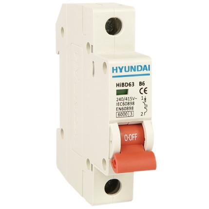 Modular circuit breaker 1P, 63AF, 10kA, 16A, B Curve: HYUNHIBD63HB116