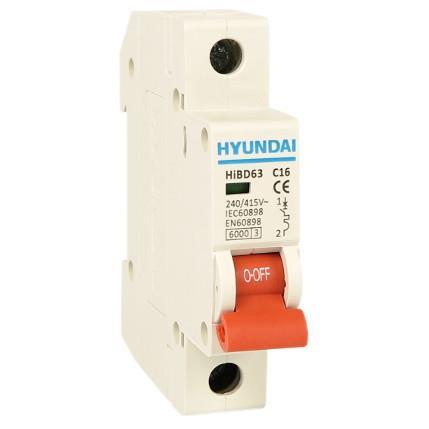 Modular circuit breaker 1P, 63AF, 10kA, 16A, C: HYUNHIBD63HC116