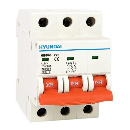 Circuit breaker 3P, 6kA, 20A, B: HYUNHIBD63NB320