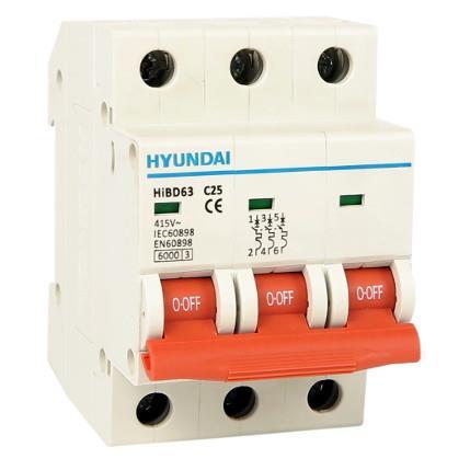 Circuit breaker 3P, 6kA, 25A, B: HYUNHIBD63NB325