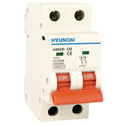 Modular circuit breaker 2P 6kA, 10A char. C: HYUNHIBD63NC210