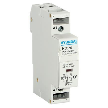 Modular contactor AC1 230VAC 4KW 1Mod, 2NO, AC control, 50Hz, 230V: HYUNHIC2020NSX230