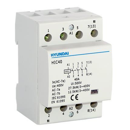 Modular contactor AC1 400VAC 4KW 3Mod, 4NO, AC control, 50Hz, 230V: HYUNHIC6340NSX230