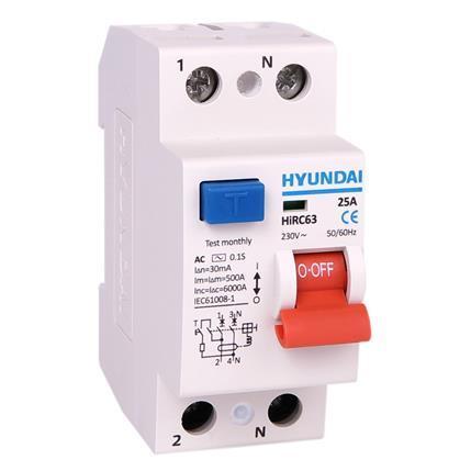 Circuit breaker 2P(1P+N), 25A, 30mA, type AC: HYUNHIRC63N225AC30