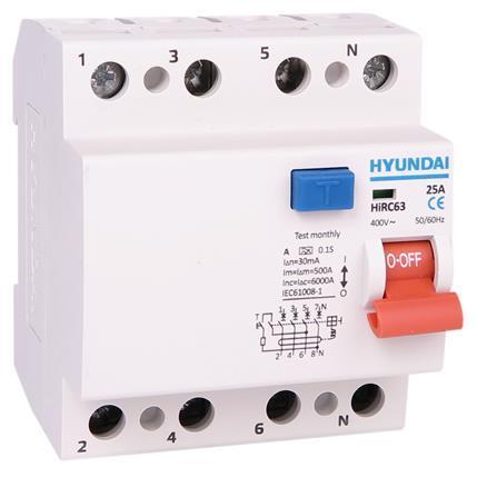 Circuit breaker 4P(3P+N), 25A, 30mA, type AC: HYUNHIRC63N425AC30