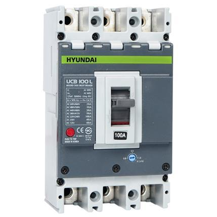 Hyundai - Compact Circuit Breaker UCB100L 4P, 50KA at AC 380/415V, 80-100A, Adjustable thermal, Screw terminal: HYUNUCB100L4P4S100F