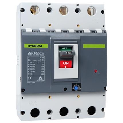 Hyundai - Compact Circuit Breaker UCB800S 3P, 65kA 380/415V, 640-800A, Thermal protection LTD 0.8-1x In, INST 10x In: HYUNUCB800S3P4S800F