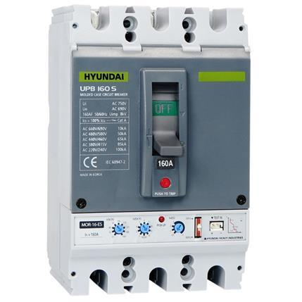 Molded Case Circuit Breaker UPB160S 3P, 85kA 380/415V, 63-160A, Electronic (LTD 0.5-1; INST 11; PTA 0.9)x In; STD 2-10x Ir: HYUNUPB160S3PESS160