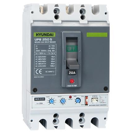 Molded Case Circuit Breaker UPB250S 3P, 85kA 380/415V, 100-250A, Electronic (LTD 0.4-1; INST 11)x In; (STD 2-10x; PTA 0.9)x Ir: HYUNUPB250S3PESS250