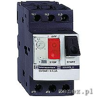 Motor switch(Circuit breaker) GV2ME, 3P, thermal-magnetic, 2.5-4.0A, screw clamp terminals: SCHNGV2ME08