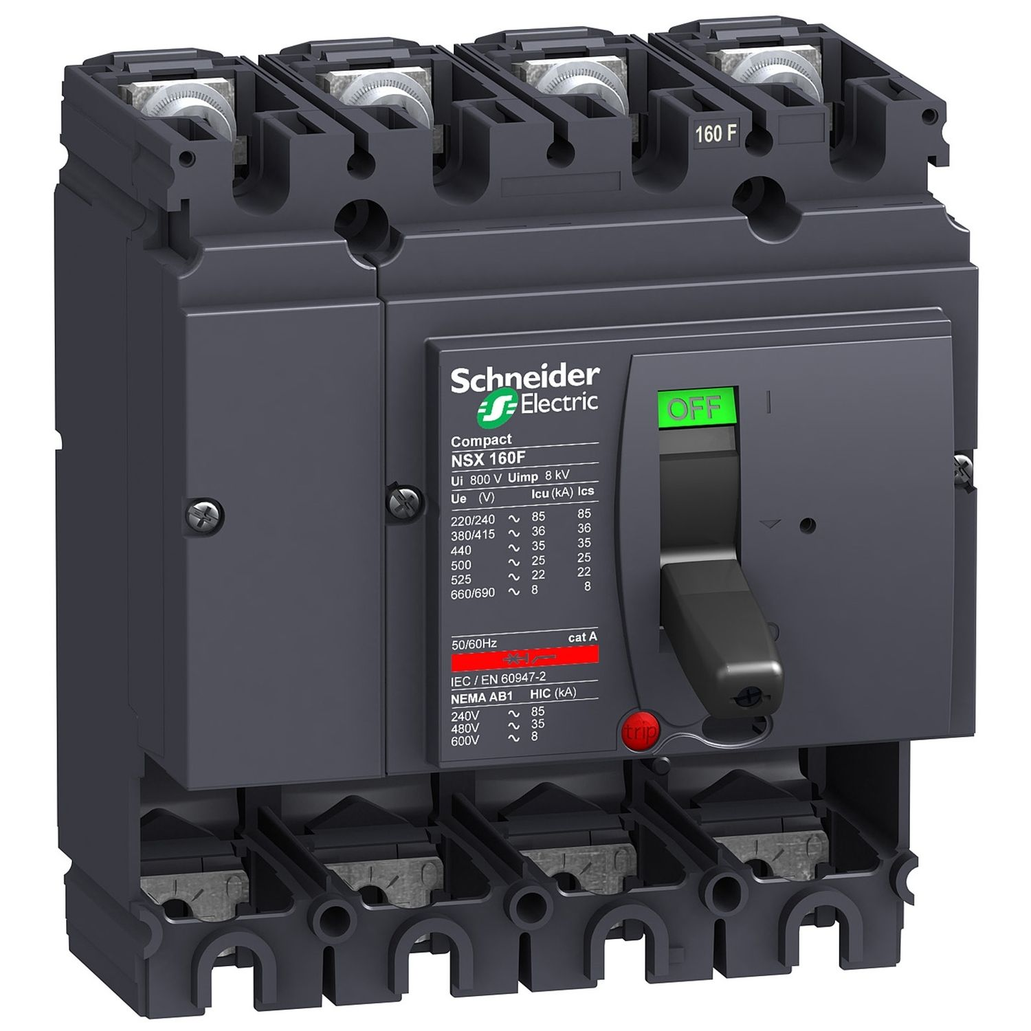 CIRCUIT BREAKER COMPACT NSX160F, WITHOUT TRIP UNIT, 4P: SCHNLV430408