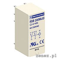 Interface plug-in relay, Zelio RSB, 2 C/O, 24V DC, 8 A: SCHNRSB2A080BD
