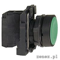 Flush complete pushbutton f22, green, spring return 1NO unmarked: SCHNXB5AA31