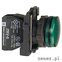 Complete pilot light, green, plain lens with integral LED, 24V: SCHNXB5AVB3