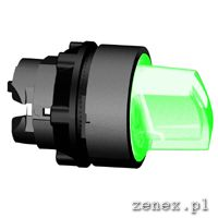 Illuminated selector switch, 2-position, green, LED, stay put: SCHNZB5AK1233