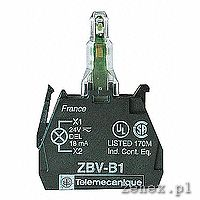 Block for head, red light, integral LED 230-240V, screw clamp terminals: SCHNZBVM4