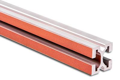 AlCubar - Aluminum anodized busbar profile Al-Cu 630 A, 360 mm2, h=27mm, 1 copper groove 6mm: ZENE20021