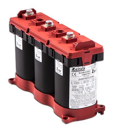 Zvar - Capacitor 3P D 11,65/14,1kvar@400/440 50Hz 3x77,3µF 3x16,8/18,5A 82x246xH162: ZVAR44141D3N